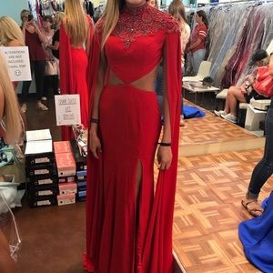 Red cape sleeve prom/pageant dress